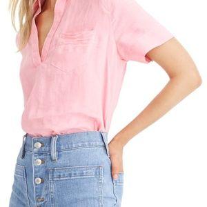 J.CREW Beauchamps Linen Short Sleeve Popover Top